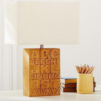 Lighting - Alphabet Complete Lamp | Pottery Barn Kids - alphabet lamp, wooden alphabet lamp, alphabet kids lamp,