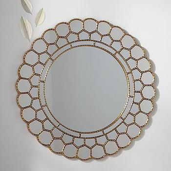 Mirrors - Gold Circle Blossom Mirror | Pottery Barn Kids - gold petal wall mirror, round petal framed mirror, gold blossom wall mirror,
