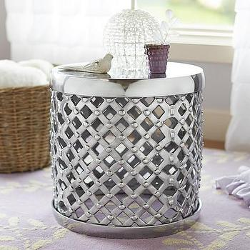 Tables - Marlow Side Table | Pottery Barn Kids - silver bamileke side table, polished aluminum side table, polished aluminum drum table, bamileke style side table,
