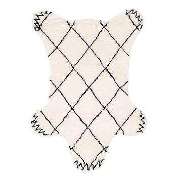 Rugs - Delaney Bear Rug | Pottery Barn Kids - bear shaped rug, bear shaped kids rug, black and white bear rug, diamond pattern bear rug,