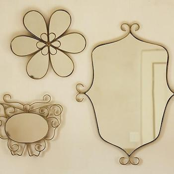 Mirrors - Gold Framed Mirrors | Pottery Barn Kids - flower shaped mirror, scroll shaped mirror, butterfly shaped mirror,