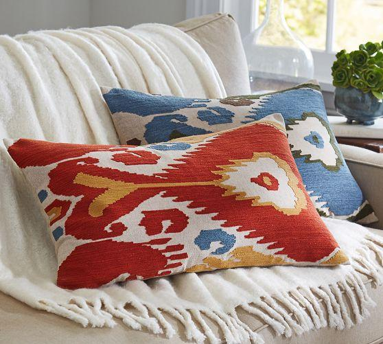 Blue Throw Pillows Pottery Barn : Ikat Embroidered Lumbar Pillow Cover - Pottery Barn