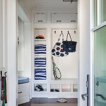 Patrick Ahearn Architecture - laundry/mud rooms: floor to ceiling built ins, mud room cubbies, open mud room storage, mud room built in ideas, mud room cabinetry, mud room bench, built in bench, oil rubbed bronze coat hooks, mud room shelving, mud room cabinet ideas, mudroom cubbies,