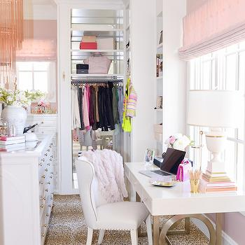 Pink Peonies - closets - closet island, island closet, glass top closet island, pink chandelier, pink fringe chandelier, pink glass chandelier, necklace bust, pink tiered chandelier, built ins, closet built ins, mirrored backsplash, closet backsplash, built in backsplash, closet built in backsplash, built in dresser, tall boy dresser, pink roman shade, dream closets, walk in closets, walk in closet ideas, master bedroom closets, closet chandelier, floor to ceiling built ins, floor to ceiling closet built ins, dressing table, polka dot roman shade, pink polka dot roman shade, leopard rug, closet rugs, closet leopard rug, animal print rug, closet animal print rug, closet dressing table, closet make up table, white lacquer dressing table, white lacquer make up table, white wingback chair, wingback vanity chair, white wingback vanity chair,