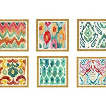 Art/Wall Decor - Colorful Painterly Ikats Gold Framed Prints | Pottery Barn - framed ikat prints, colorful ikat art prints, framed ikat wall art, multi colored ikat art,