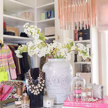 Pink Peonies - closets: closet island, island closet, glass top closet island, pink chandelier, pink fringe chandelier, pink glass chandelier, necklace bust, pink tiered chandelier,