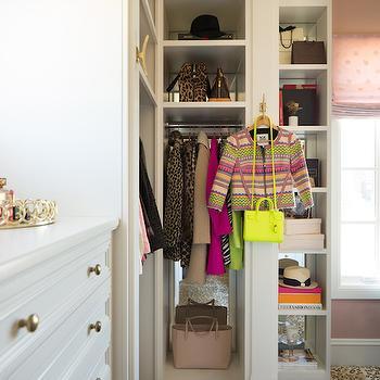 Pink Peonies - closets - built ins, closet built ins, mirrored backsplash, closet backsplash, built in backsplash, closet built in backsplash, pink roman shade, dream closets, walk in closets, walk in closet ideas, master bedroom closets, floor to ceiling built ins, floor to ceiling closet built ins, polka dot roman shade, pink polka dot roman shade, leopard rug, closet rugs, closet leopard rug, animal print rug, closet animal print rug, closet cubbies, built in cubbies, built in closet cubbies,