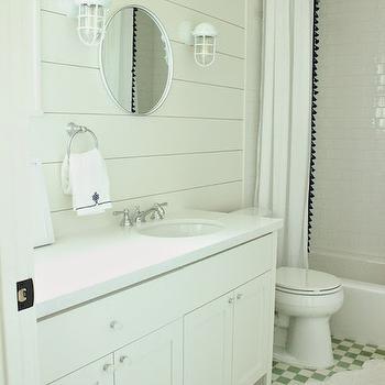 Shower Curtains With Pom Pom Trim, Cottage, bathroom, Belmont Design Group