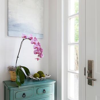 Reiko Feng Shui Design - entrances/foyers - foyer table, foyer chest, 3 drawer console table, 3 drawer chest, teal chest, teal table, teal console table, abstract art, abstract canvas, white and blue abstract art, entry table, cottage foyer,