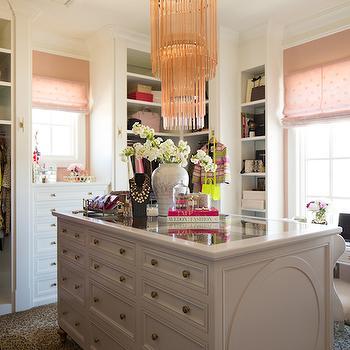 Pink Peonies - closets - closet island, island closet, glass top closet island, pink chandelier, pink fringe chandelier, pink glass chandelier, necklace bust, pink tiered chandelier, built ins, closet built ins, mirrored backsplash, closet backsplash, built in backsplash, closet built in backsplash, built in dresser, tall boy dresser, pink roman shade, dream closets, walk in closets, walk in closet ideas, master bedroom closets, closet chandelier, floor to ceiling built ins, floor to ceiling closet built ins, dressing table, polka dot roman shade, pink polka dot roman shade, leopard rug, closet rugs, closet leopard rug, animal print rug, closet animal print rug, closet dressing table, closet make up table,