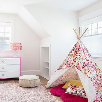 Reiko Feng Shui Design - girl's rooms - teepee, girls teepee, kids teepee, floral teepee, red sheepskin rug, pink rug, rosette rug, pink rosette rug, kids built ins, 2 tone dresser, white and pink dresser, moroccan pouf, beige pouf, beige moroccan pouf,