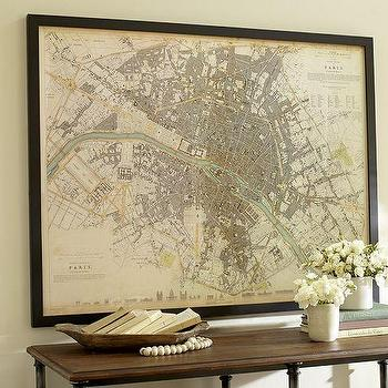Art/Wall Decor - Vintage Inspired Paris Map Framed Print | Pottery Barn - vintage paris city map, reproduction vintage paris map, framed reproduction map of paris,