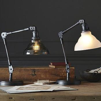 Lighting - Sidney Vintage Task Table Lamp | Pottery Barn - industrial desk lamp, victorian style table lamp, iron desk lamp, adjustable iron lamp,