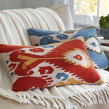 Pillows - Ikat Embroidered Lumbar Pillow Cover | Pottery Barn - ikat lumbar pillow, red ikat pillow, blue ikat lumbar pillow, embroidered ikat pillow, embroidered ikat lumbar pillow,