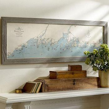 Art/Wall Decor - Reproduction Map Of Maine Framed Print | Pottery Barn - reproduction map of maine, nautical map of maine, vintage map of coastal maine, framed map of coastal maine,