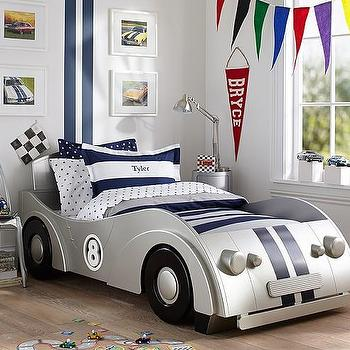Beds/Headboards - Roadster Twin Bed | Pottery Barn Kids - kids race car bed, silver race car kids bed, silver sports car kids bed, car shaped kids bed,