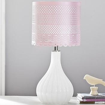 Lighting - Pink Perforated Metal Drum Shade | Pottery Barn Kids - piereced pink lamp shade, pink pierced drum shade, pink perforated drum shade,