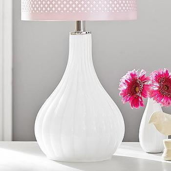 Lighting - White Fluted Glass Base | Pottery Barn Kids - white fluted table lamp, white glass teardrop lamp, white teardrop fluted lamp,
