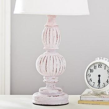 Lighting - Brenna Lavender Rustic Finish Wood Base | Pottery Barn Kids - distressed lavender table lamp, curved lavender table lamp, carved lavender table lamp,