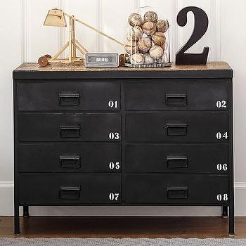 Storage Furniture - Ryder Dresser | Pottery Barn Kids - industrial metal dresser, black numbered kids dresser, industrial black kids dresser,