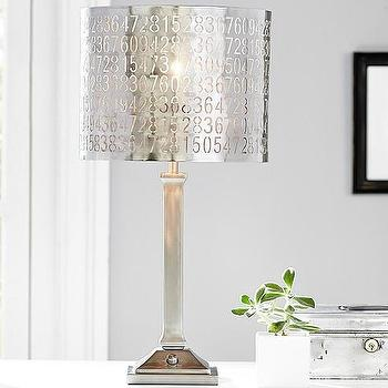Lighting - Punched Metal Numbers Shade | Pottery Barn Kids - punched metal number shade, silver numbered lamp shade, numbered metal lamp shade,