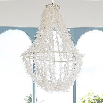 Lighting - Lily Chandelier | Pottery Barn Kids - paper flower chandelier, white flower chandelier, white petal chandelier,