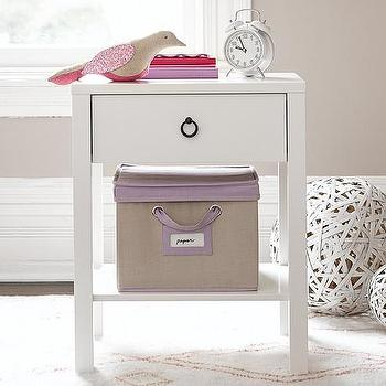 Storage Furniture - Hadley Nightstand | Pottery Barn Kids - white single drawer kids nightstand, white kids nightstand with shelf, white kids one drawer bedside table,