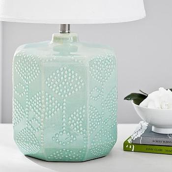 Lighting - Maya Ceramic Textured Base | Pottery Barn Kids - aqua blue table lamp, aqua blue ceramic lamp, aqua blue floral lamp,