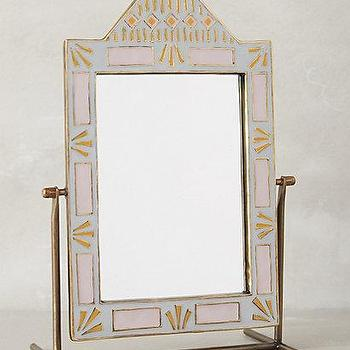 Mirrors - Geo-Tile Vanity Mirror I anthropologie.com - blue and gold vanity mirror, pivoting vanity mirror, blue and gold dressing table mirror,