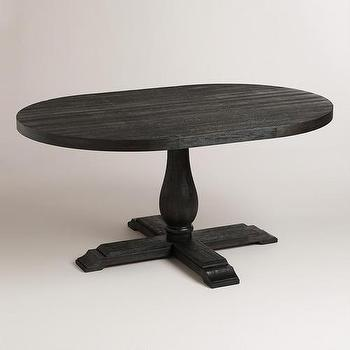 Tables - Round to Oval Black Greyson Extension Table | World Market - black extension table, black pedestal table, black oval pedestal table,