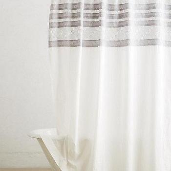 Bath - Shadow Stripe Shower Curtain I anthropologie.com - gray striped shower curtain, geometric striped shower curtain, patterned stripe shower curtain,