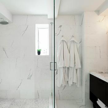 White Marble Shower Surround, Contemporary, bathroom, Darci Hether