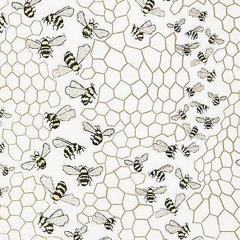 Wallpaper - Bee Colony Wallpaper I anthropologie.com - honeybee wallpaper, bee and honeycomb wallpaper, bee print wallpaper,