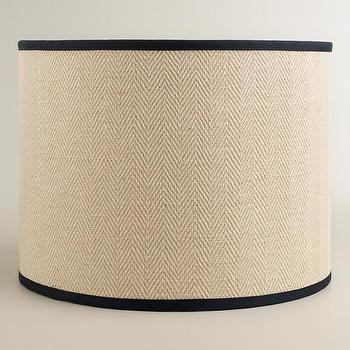 Lighting - Cream Herringbone Drum Table Lamp Shade | World Market - herringbone drum lamp shade, cream herringbone drum shade, herringbone drum shade,