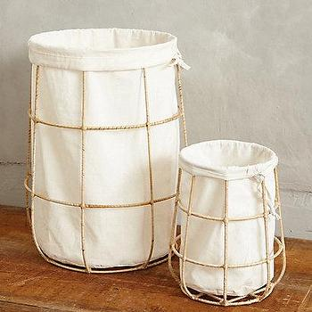 Decor/Accessories - Framed Canvas Bins I anthropologie.com - gold framed canvas bin, canvas bin with wire frame, gold wire and canvas bin,