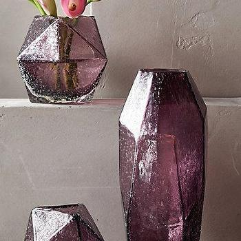 Decor/Accessories - Faceted Gem Vase I anthropologie.com - purple faceted glass vase, modern purple glass vase, amethyst glass vase, geometric purple glass vase,