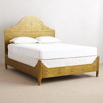 Beds/Headboards - Hand-Embossed Bed I anthropologie.com - embossed metal bed, embossed gold bed, patterned gold bed,