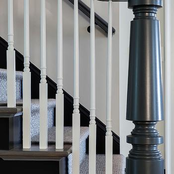 Jane Goetz Interior Design - entrances/foyers - sisal stair runner, natural fiber stair runner, white spindles, white stair spindles, gray newel post, turned gray newel post, chunky gray newel post, gray hand rail, gray staircase,