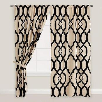 Window Treatments - Black Ethel Flocked Chambray Tab Top Curtain | World Market - black trellis drapes, flocked chambray trellis drapes, black and ivory trellis curtains,