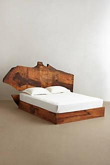 Beds/Headboards - Live Edge Wood Bed I Anthropologie - live edge wood bed, mango wood bed, rustic wooden bed,