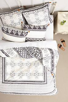 Bedding - Enmore Embroidered Duvet I Anthropologie - black and white embroidered bedding, black and white embroidered duvet, embroidered duvet with tassel trim, tassel trimmed bedding,