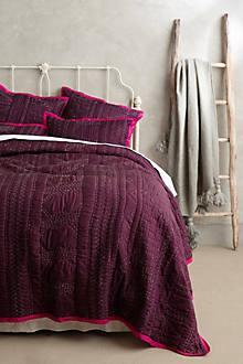 Bedding - Stitched Kantha Coverlet I Anthropologie - plum coverlet, kantha embroidered coverlet, plum colored bedding, embroidered plum coverlet,