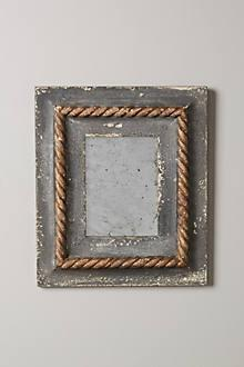 Art/Wall Decor - Sea-Weathered Mirror I Anthropologie - weathered gray frame, distressed gray frame, gray rope trimmed frame,