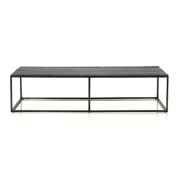 Tables - Baden Coffee Table I Crate and Barrel - contemporary iron coffee table, iron and teak coffee table, steel coffee table with teak top,