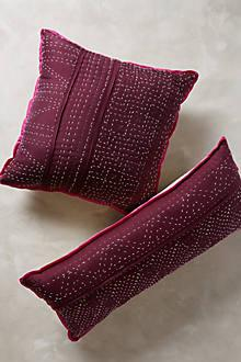 Pillows - Stitched Silk Pillow I Anthropologie - plum colored lumbar pillow, kantha embroidered pillow, burgundy colored pillow, burgundy lumbar pillow, plum kantha pillow,