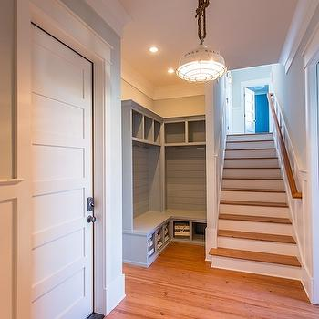 Gray Mudroom Lockers, Country, entrance/foyer, JacksonBuilt Custom Homes