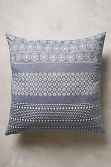 Pillows - Tiered Fringe Pillow I Anthropolgie - blue medallion print pillow, blue washed pillow, faded blue and white pillow,