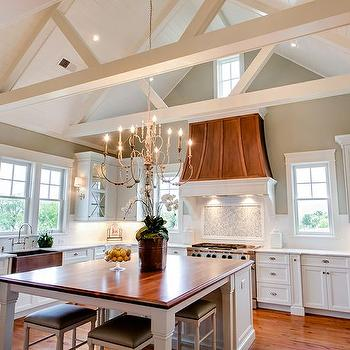 Walnut Kitchen Island, Transitional, kitchen, Benjamin Moore Horizon Gray, JacksonBuilt Custom Homes
