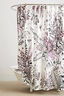 Bath - Cornelis Shower Curtain I Anthropolgie - purple and black floral shower curtain, purple and black botanical shower curtain, floral print shower curtain,
