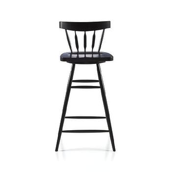 "Seating - Willa 30"" Swivel Black Stool I Crate and Barrel - black windsor stool, black swivel windsor stool, black spindle back bar stool,"